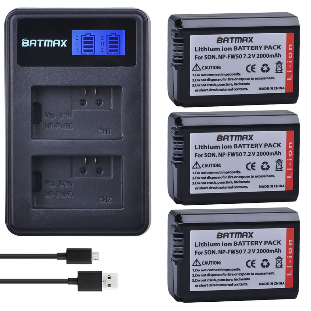 3 Pc NP-FW50 npfw50 NPFW50 Batterie + LCD Dual USB Ladegerät für Sony a37 Alpha 7 7R II 7 S a7S a7R II a5000 NEX-7 DSC-RX10 RX10 II III