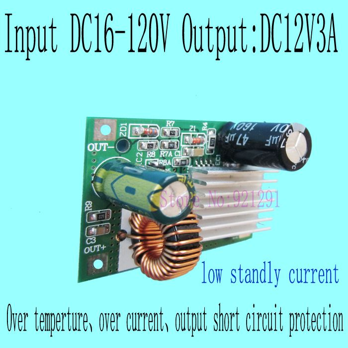 2 teile/los! Neue! DC-DC Step Down Converter Modul DC 16 ~ 120 v 100 v 84 v 80 v 72 v 60 v 48 v 24 v eingang auf 12 v 3A über-strom schutz