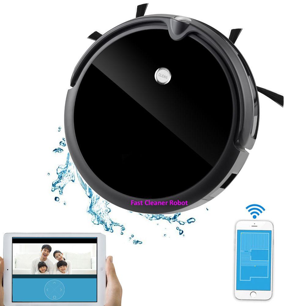 NEUESTE Nassen Und Trockenen Roboter Staubsauger Mit Kamera Monitor, Karte Navigation, Smart Memory, Video Anruf, 350 ml Wasser Tank