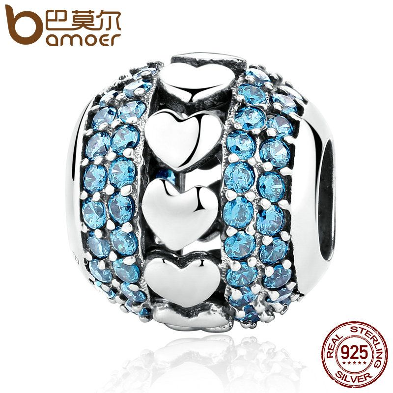 BAMOER New 925 Sterling Silver Heart to Heart Charms with Blue Small Crystals Beads Fit Charm Bracelets Fine Jewelry SCC082