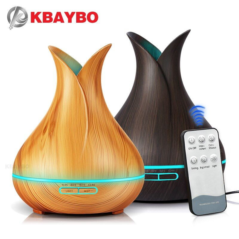 KBAYBO Ultrasonic Air Humidifier electric Aroma air diffuser Essential Oil Diffuser Wood Remote Control Mistmaker for home 400ml