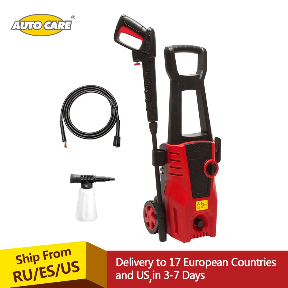 AutoCare High Pressure Cleaner Car <font><b>Washer</b></font> 1400W 1600PSI 1.36GPM spray gun detergent bottle turbo water hose self-washing machine