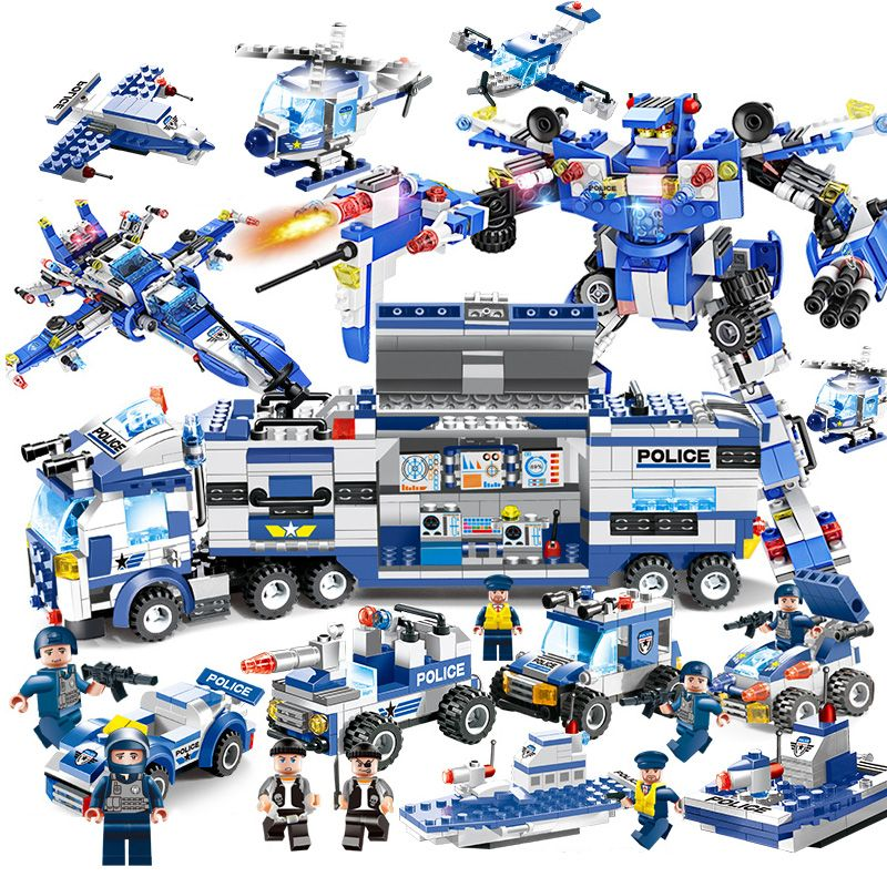 8 IN 1 Police War Generals Robot Car Building Blocks Helicopter Bricks Educational Toys Compatible With Legoed City Blocks