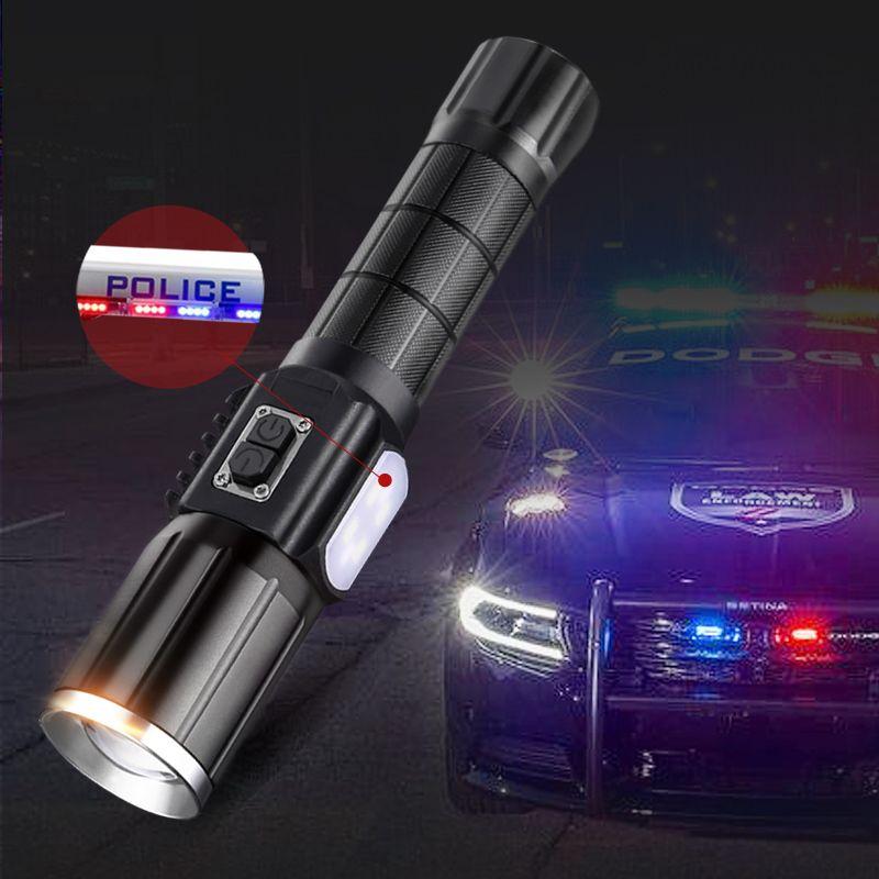 5000lm puissant Rechargeable 18650 lampe de poche de Police torche USB Zoom lampe de poche tactique Cree T6 & COB LED lampe de lanterne militaire