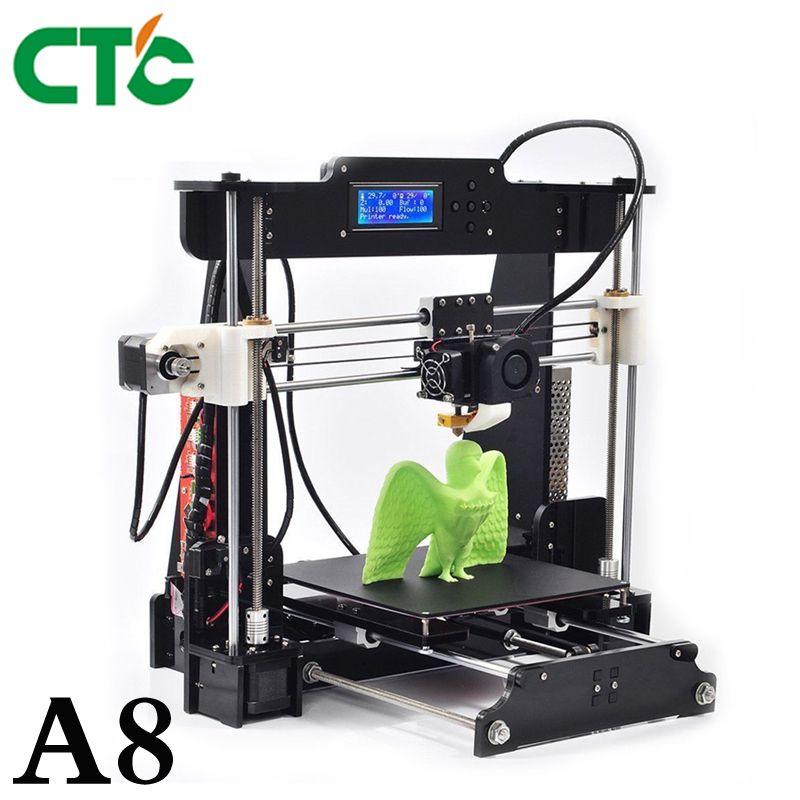 CTC A8 3D Printer DIY High Accuracy Desktop Prusa i3 DIY Kit LCD Screen Printer Self Assembly Support