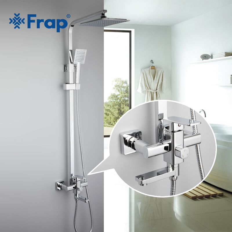 Frap 1 Set Bathroom Rainfall Shower Faucet Set Single Handle Mixer Tap With Hand Sprayer Wall Mounted Bath Shower Sets F2420