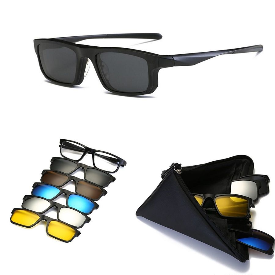 Vazrobe (5 объектива) клип на Солнцезащитные очки для женщин Для мужчин Для женщин спортивные TR90 Рамки Магнитная Защита от солнца Очки для вожде...