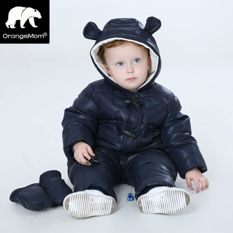 Nuevo 2017 Rusia invierno duck down abrigos de 30 grados A Prueba de agua + paño grueso y suave chaqueta de abrigo para niñas niños mono de los niños de invierno orangemom