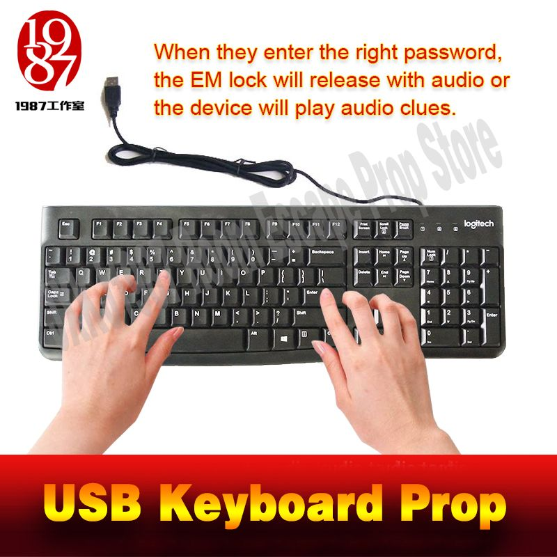 Room escape props USB keyboard prop enter the right password to unlock and get the audio clues from JXKJ1987 for adventurer game