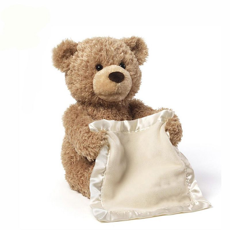 Peek a Boo Teddy Bear Play Hide And Seek Lovely Cartoon Stuffed Teddy Bear Kids Birthday Gift 30cm Cute Music Bear Plush Toy