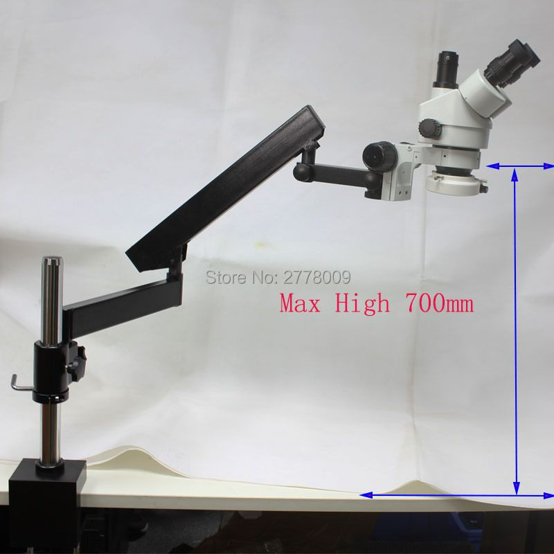 3.5X-90X Trinocular Industrial Inspection Zoom Stereo Microscope Long Arm Boom Clamp Large Stereo Table Stand With LED Lights