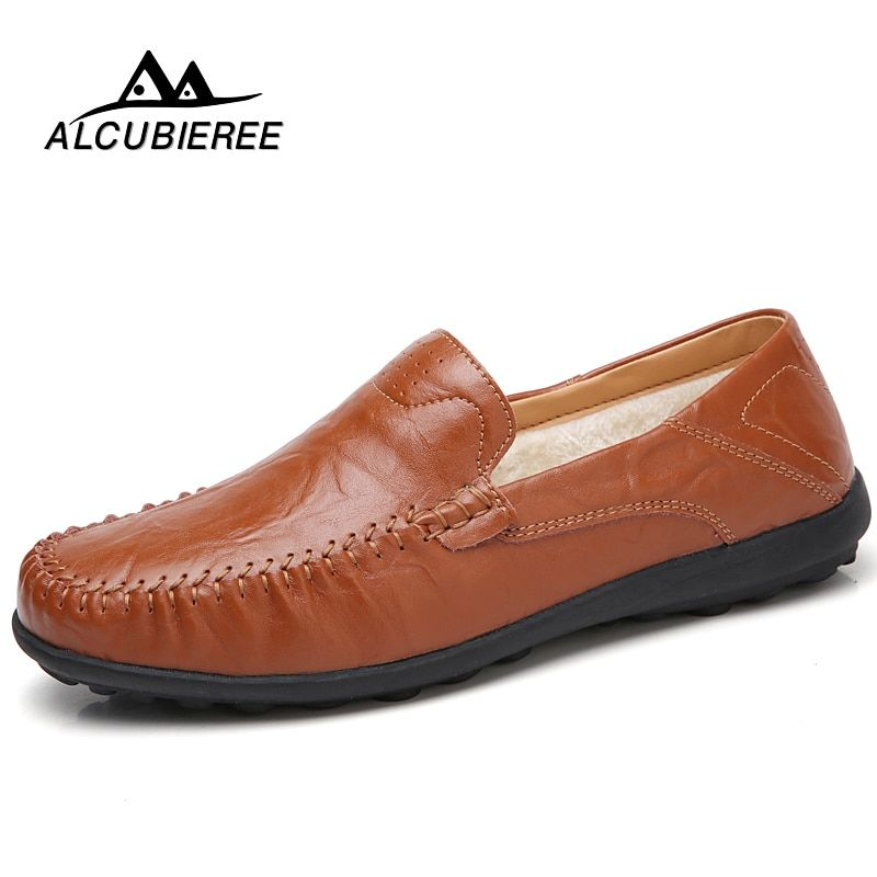 Large Size Autumn Winter Business Split Leather Shoes Men Loafers Octopus Fur Warm Men Driving Casual Slip on Boat Shoes