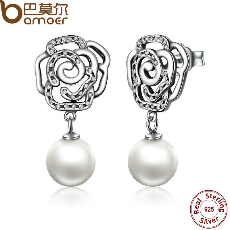 BAMOER Neue 100% Authentische 925 Sterling Silber Rose und Perle Weibliche Ohrringe TOP Qualität Ohrringe Schmuck SCE001