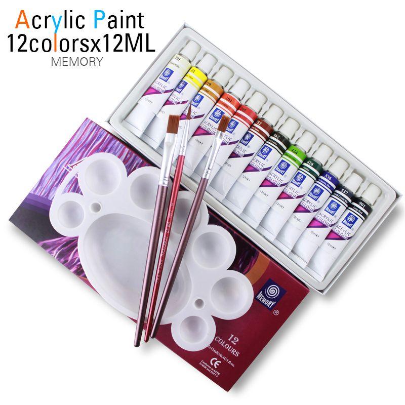 Haute qualité acrylique peintures Tube Set Nail Art peinture outil de dessin pour les artistes 12 ML 12 couleurs offrent des pinceaux gratuitement