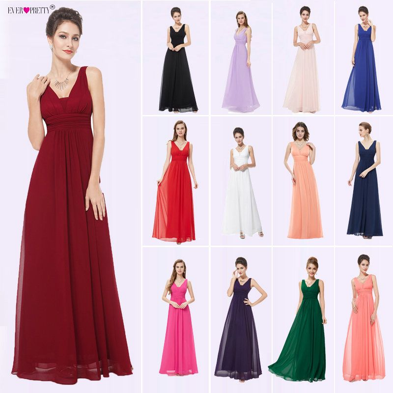 Formal Evening Dresses Ever Pretty EP08110 2018 Elegant Black Deep V-neck Ruched Bust Maxi Woman Elegant Evening Dresses Gowns