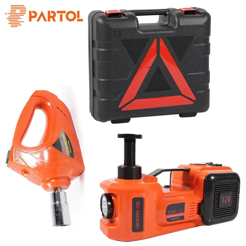 Partol 3 Functions Air Pump Lighting Car Lifting Electric Hydraulic Jack Impact Wrench 5T 12V Automobile Maintenance Tools