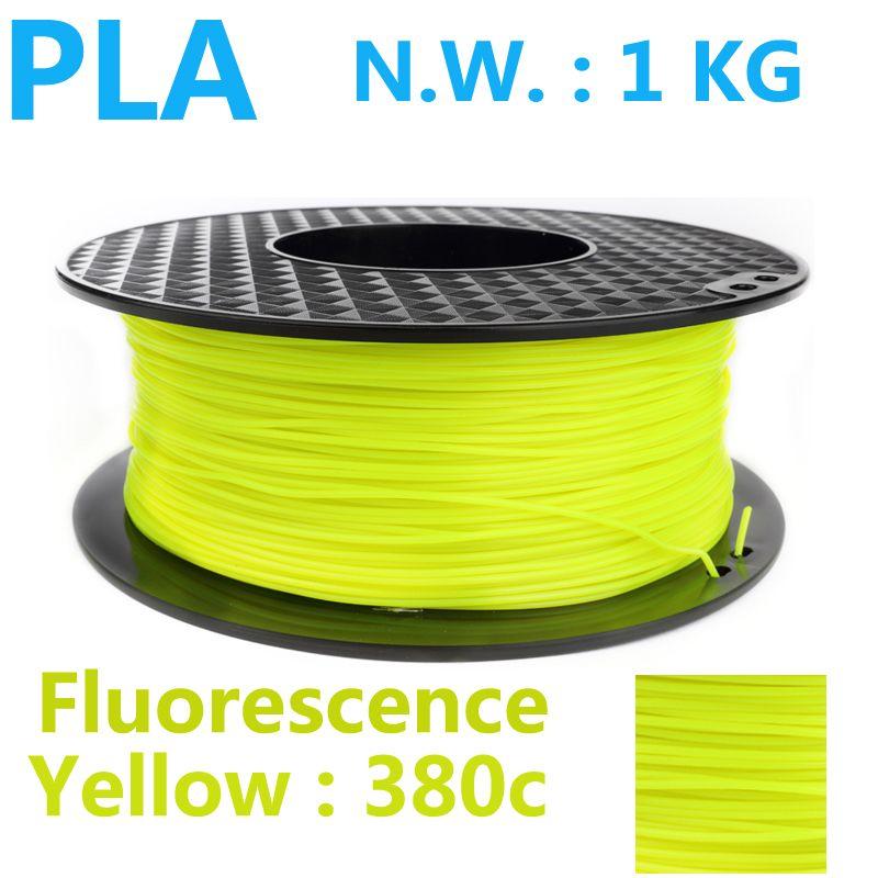 Fluorescence yellow pla 1.75 3d printer filament high quality 3d pen plastic filamento pla 1kg 1.75mm filamento impresora 3d