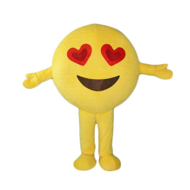 High quality happy red heart eyes face emoji mascot costumes for adult Halloween purim carnival party event