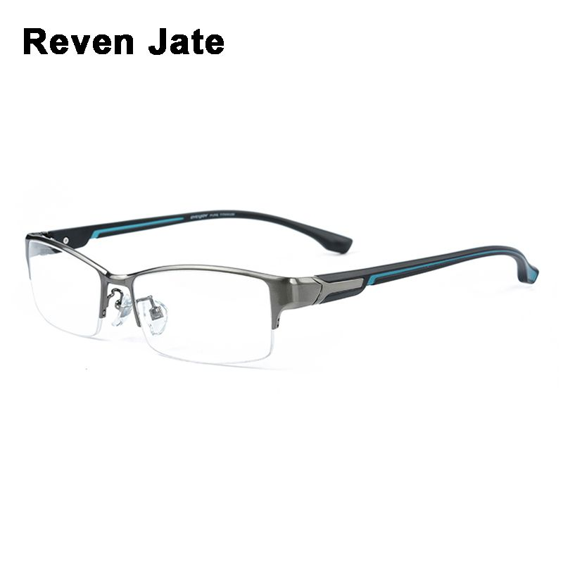 Reven Jate Super Fashion Men Eyeglasses Frame Ultra Light-weighted Flexible IP Electronic Plating Metal Material Rim Glasses Man