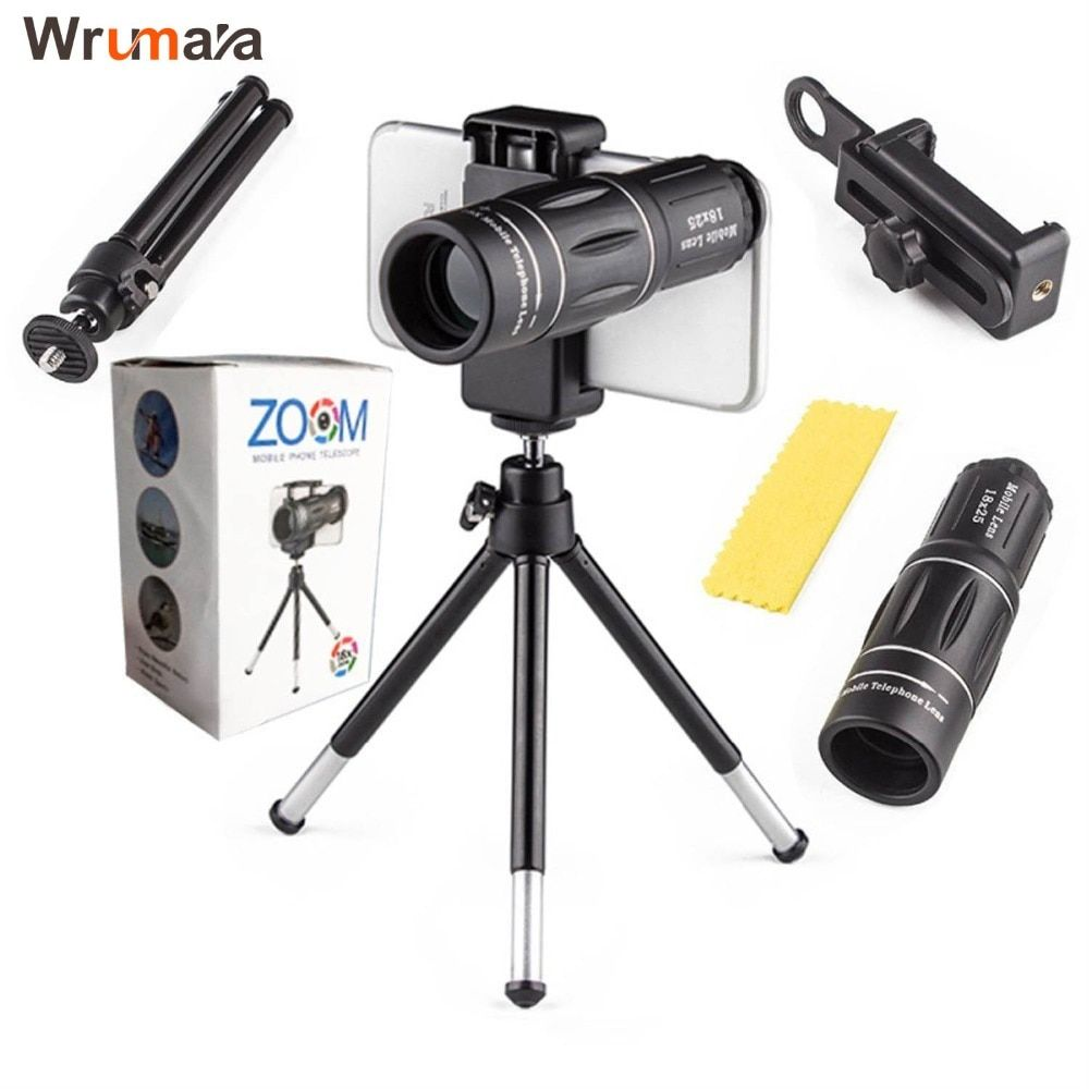 Universal 18X Telescope Zoom Mobile Phone Lens for iPhone Samsung Smartphones universal clip Telefon Camera Lens with tripod