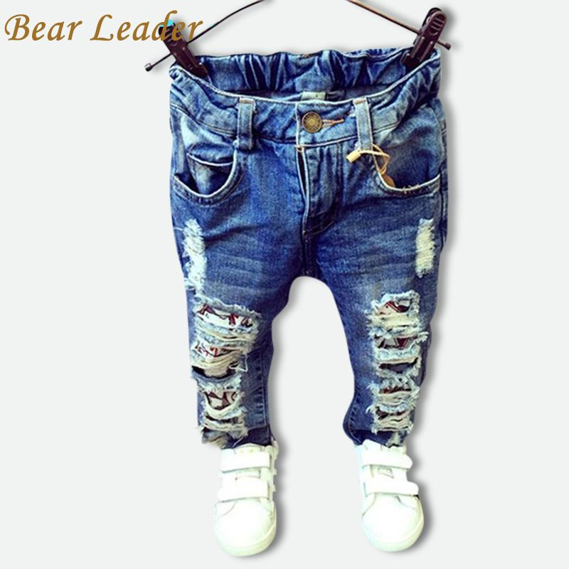 Bear Leader <font><b>Children</b></font> Broken Hole Pants Trousers 2016 Baby Boys Girls Jeans Brand Fashion Autumn 2-7Y Kids Trousers Clothes
