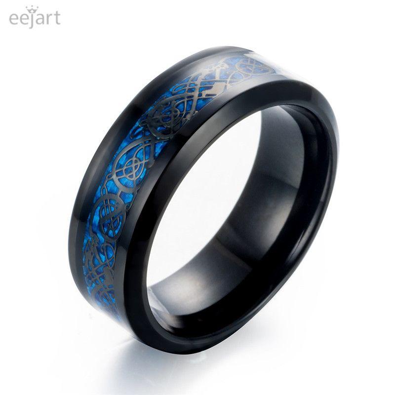 eejart Black 316L Stainless steel Ring Wedding Band blue Carbon Fiber des Nibelungen Dragon rings for men