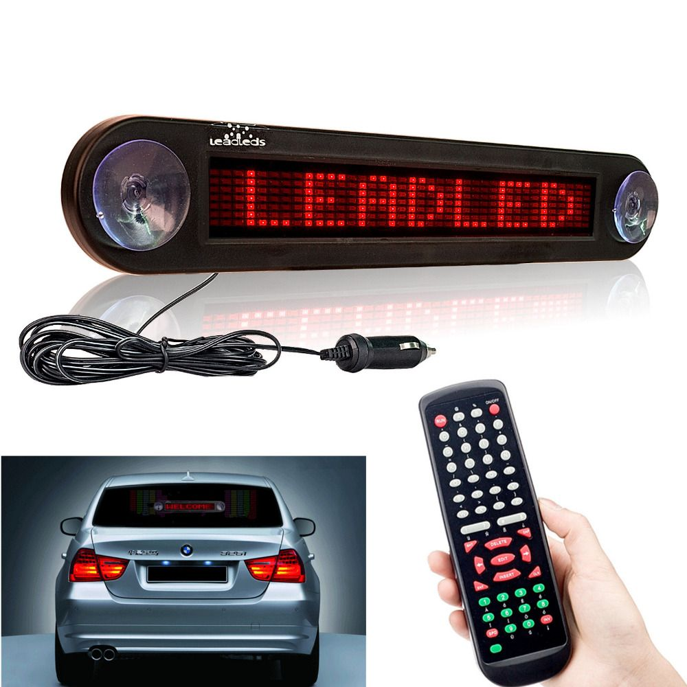 12 V 30 cm voiture rouge Led signe à distance Programmable défilement publicité Message miroir panneau d'affichage voiture fenêtre arrière signes mobiles