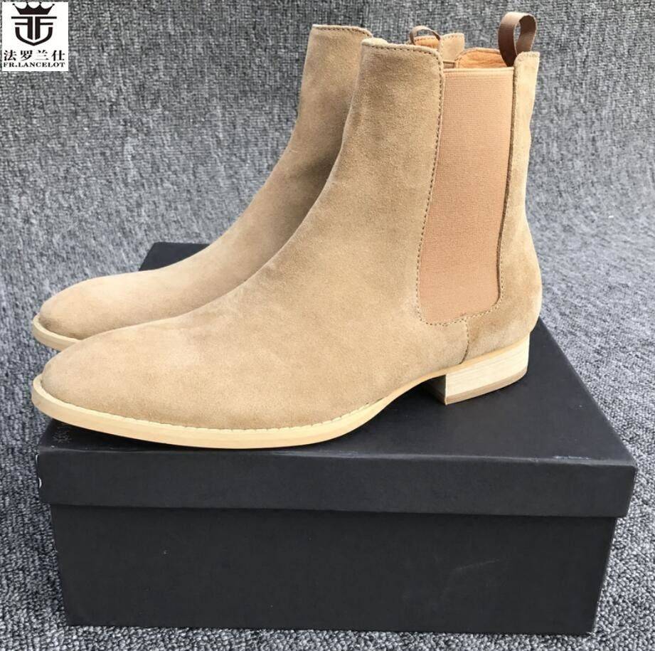 FR.LANCELOT 2018 ON SALE new men's boots pointed toe suede leather chelsea boots slip on men's boots rubber sole booties