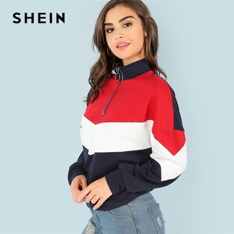 SHEIN Multicolor Minimalist O-Ring Zip Front Cut And Sew <font><b>Stand</b></font> Neck Raglan Sleeve Sweatshirt Autumn Women Casual Pullovers