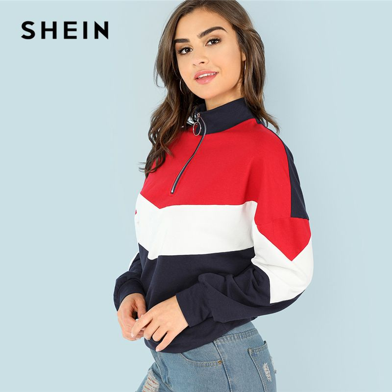 SHEIN Multicolor Minimalist O-Ring Zip <font><b>Front</b></font> Cut And Sew Stand Neck Raglan Sleeve Sweatshirt Autumn Women Casual Pullovers