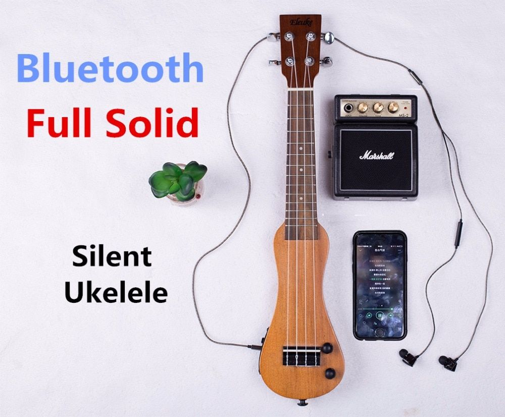 Ukulele Soprano Concert 21 23 Inch Electric Mahogany Mini Full Solid Bluetooth Headphones Silent Hawaiian Guitar 4 Strings