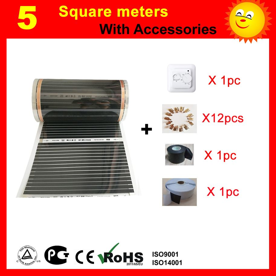 5 Square meters electric floor Heating film, AC220V infrared heater 50cm x 10m, house heater with accessories