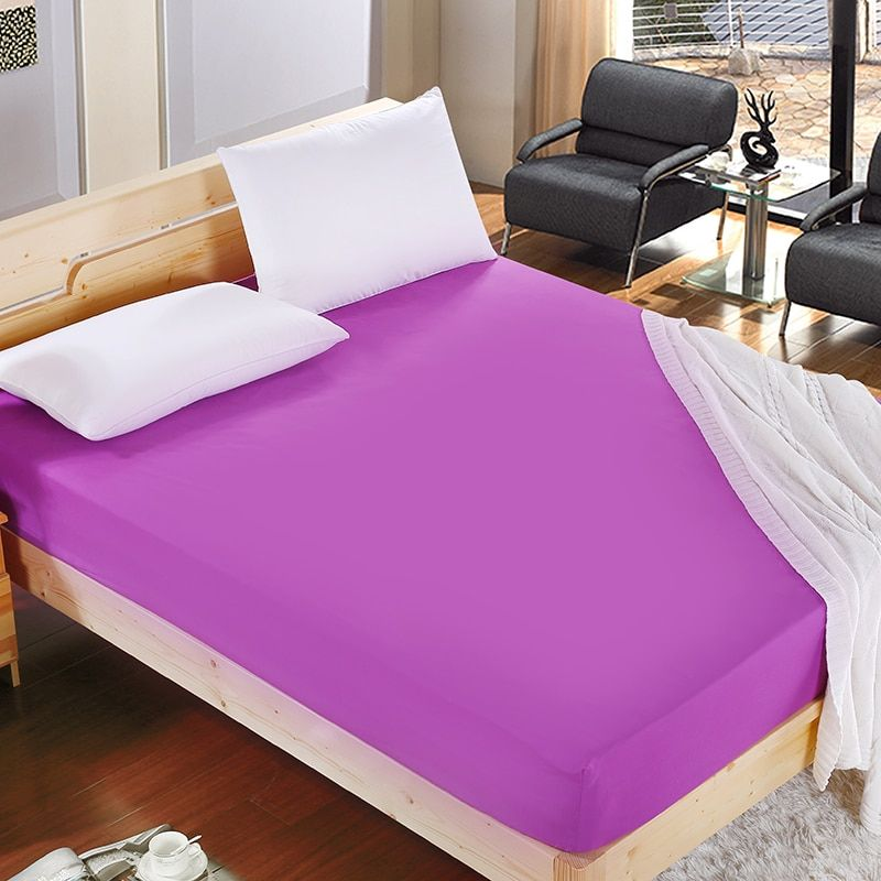 1pcs 100%Polyester Solid Fitted Sheet Mattress Cover <font><b>Four</b></font> Corners With Elastic Band Bed Sheet