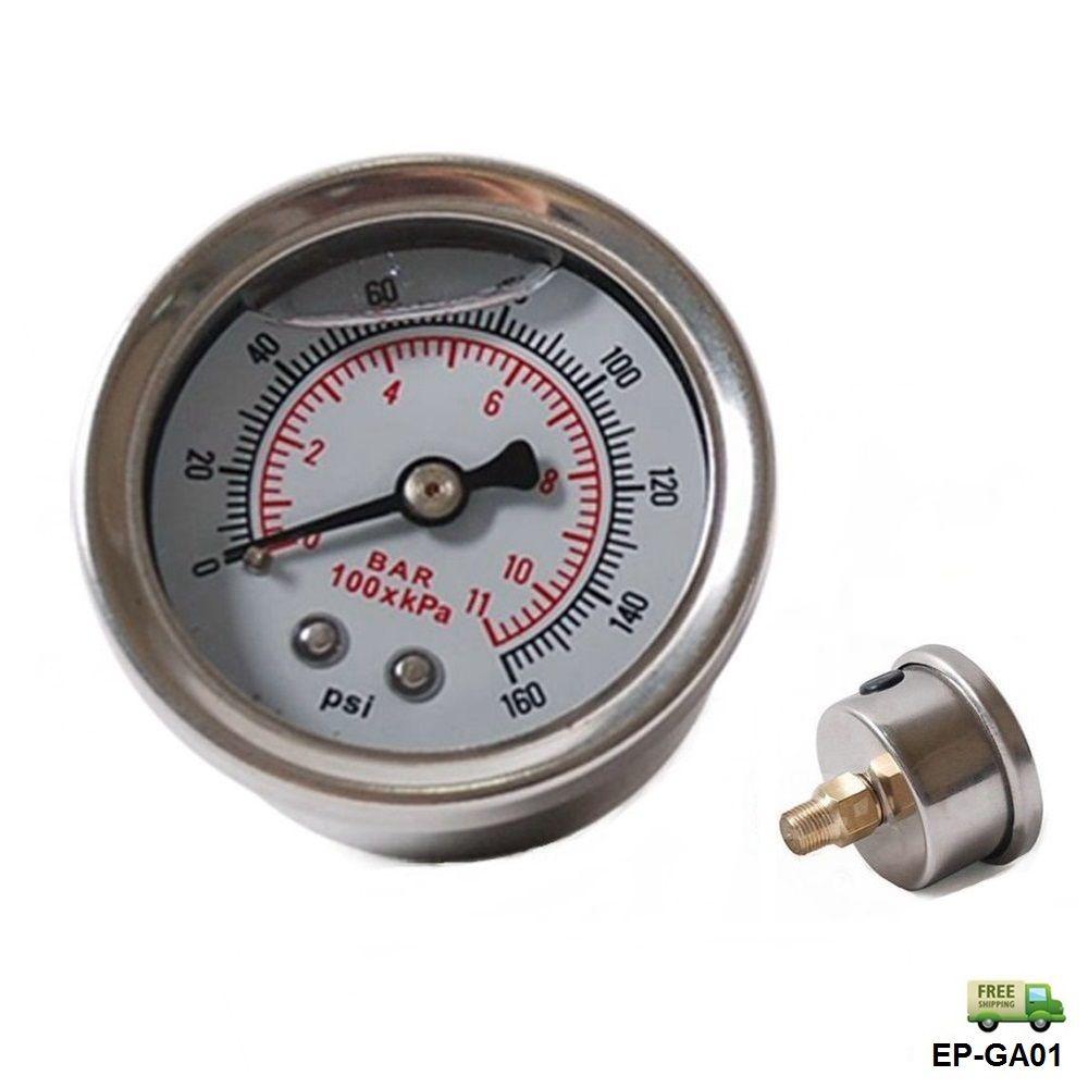 EPMAN - Fuel Pressure Regulator gauge 0-160 PSI / bar Liquid Fill chrome fuel/oil Gauge EP-GA01-FS