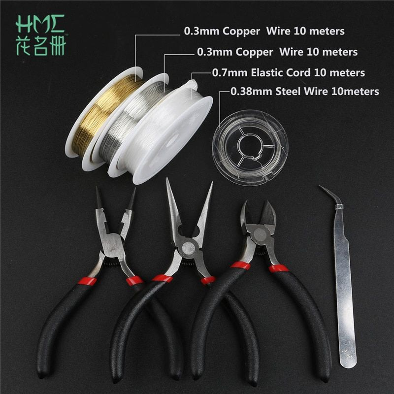 Jewelry Tools Material Set 3 Pliers&Tweezers&4 Coil For Making Bracelet Necklace Earring Accessories Jewelry Tool Beading DIY