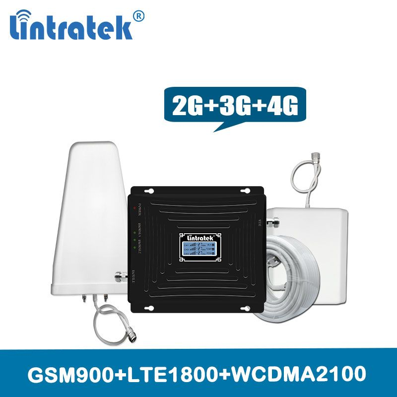 Lintratek 2G 3G 4G Mobile Signal Amplifier 900 1800 2100 GSM DCS WCDMA LTE Signal Booster Tri Band Cellphone Cellular Repeater