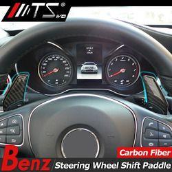 TSWEI Mobil Styling Serat Karbon Roda Kemudi Dayung Pergeseran Shifter Dayung Untuk Mercedes Benz GLC X205 C Kelas Aksesoris W205