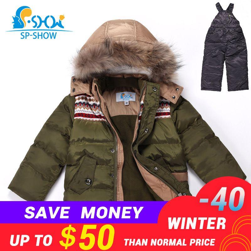 2018SP-SHOW Winter Children Boys And Girls Ski Suit Jacket Windproof Russian Warm Thick fleece Down Jacket Coat + Trousers 95019