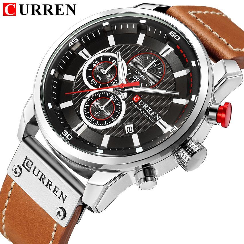 Nouvelles montres hommes de luxe marque CURREN chronographe hommes montres de Sport de haute qualité bracelet en cuir montre-bracelet à Quartz Relogio Masculino
