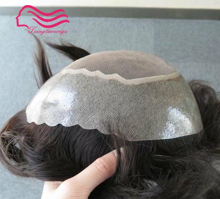 stock Human hair men toupee Apollo , tsingtaowigs prosthesis , hair piece hair replacement free shipping