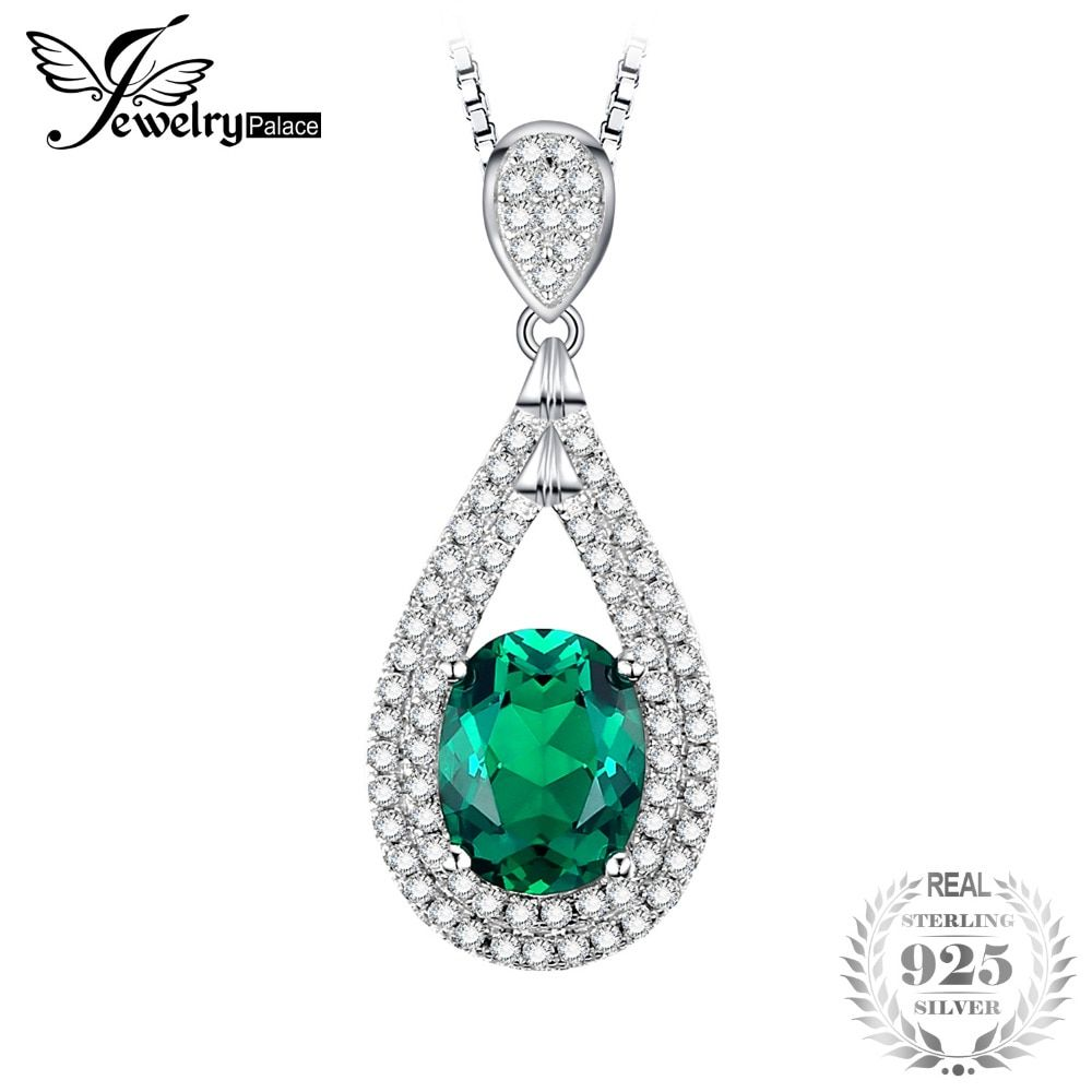 JewelryPalace New 1.67ct Oval Created Emerald Necklaces Pendants Vintage 100% 925 Sterling Silver With 45cm Chain Fine Jewelry
