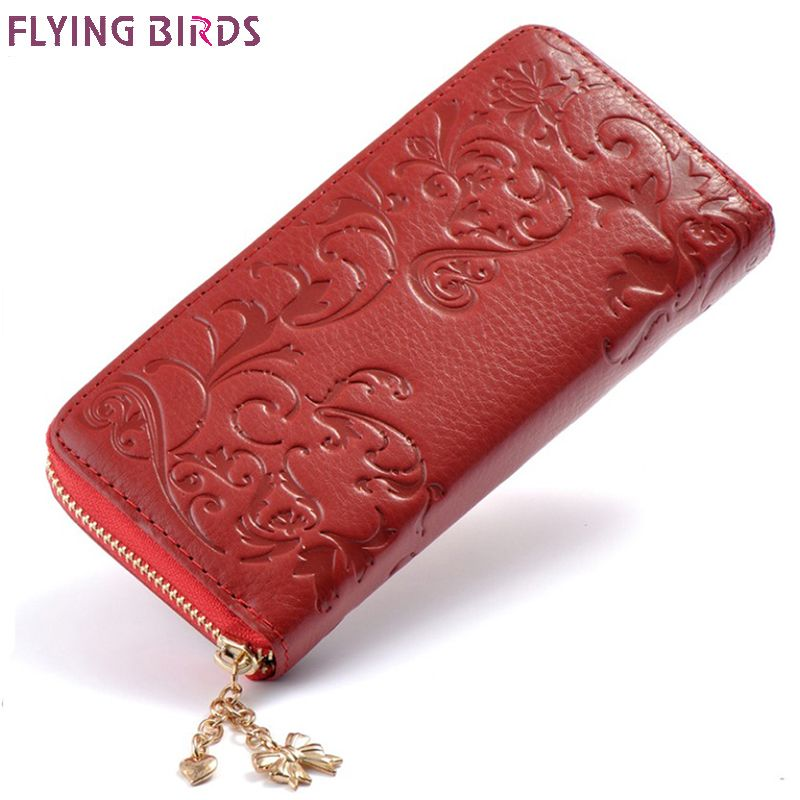 FLYING BIRDS Genuine Leather wallet for women brand long purse dollar price card holder coin bag female money cilp quality a3439