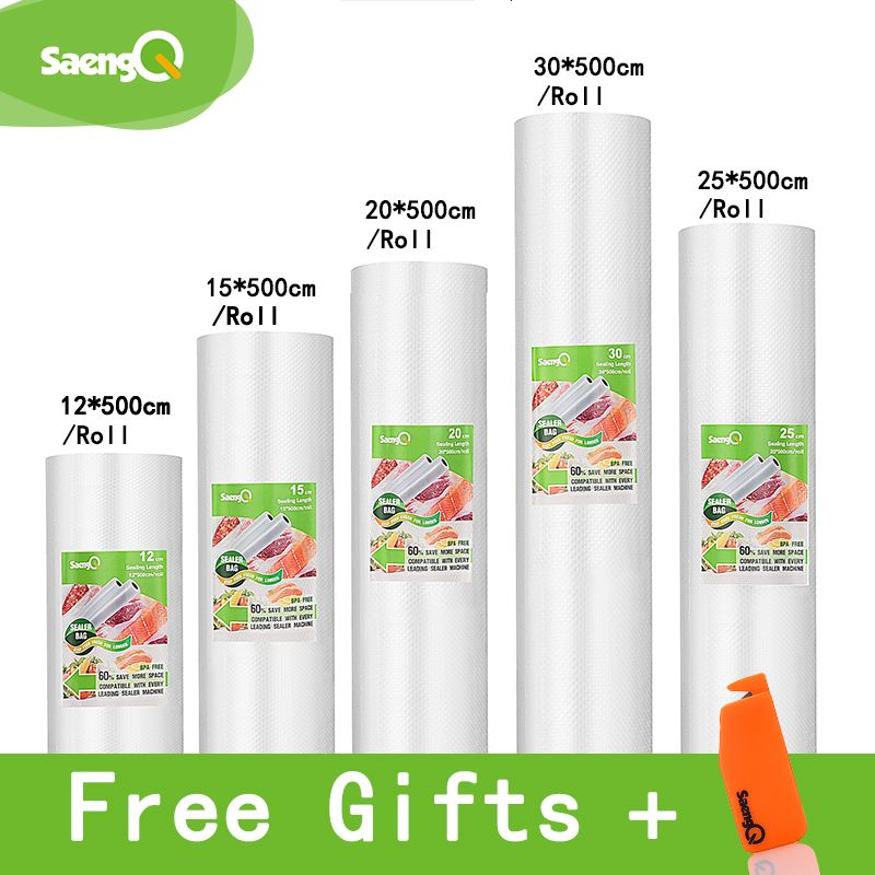 saengQ 5 Rolls/Lot LIFE Kitchen Food Vacuum Bag Storage Bags For Vacuum Sealer Food Fresh Long Keeping 12+15+20+25+30cm*500cm