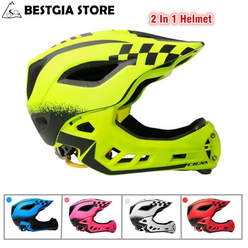 Cycling Full Covered Children Helmet Sports Safety Kids Helmets For Balance Bike Motocross Downhill BMX 2 In 1 Full Face Helmet