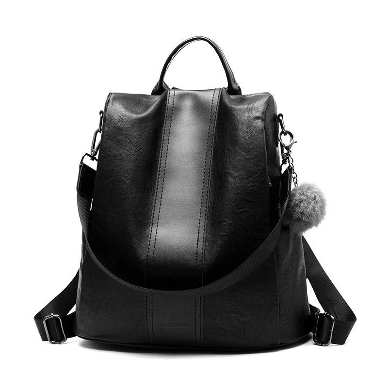 Nouveau décontracté pu femmes anti-vol sac à dos 2019 haute qualité vintage sacs à dos femmes de plus grande capacité femme sac à bandoulière