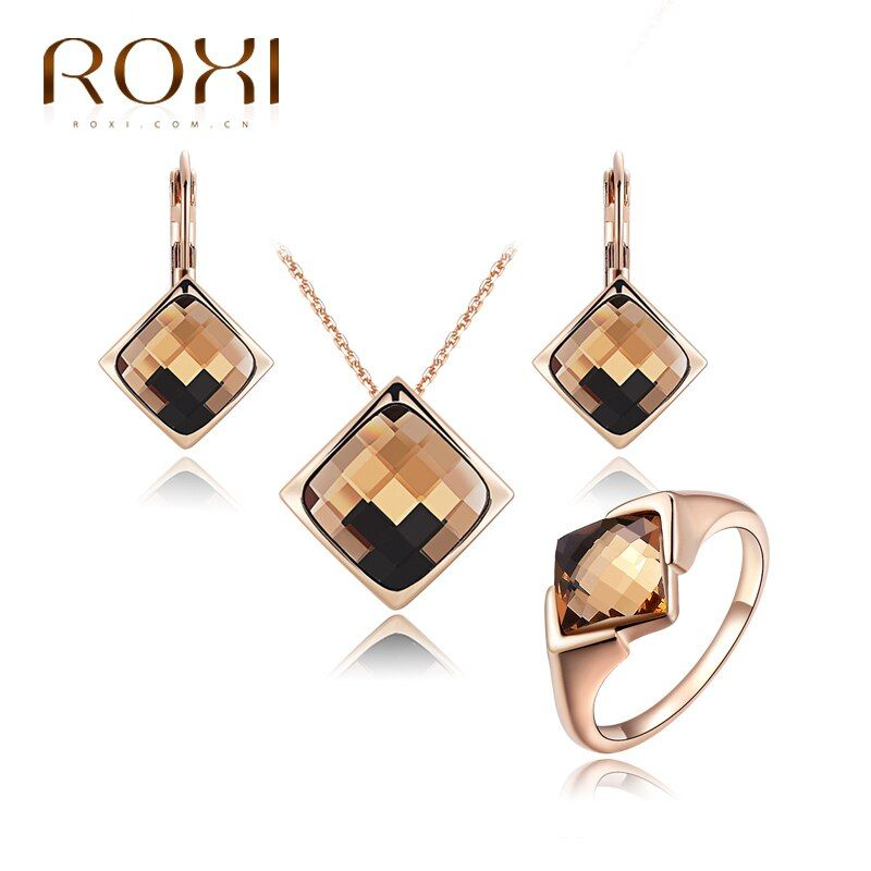 ROXI Nuevo Sistemas de La Joyería para las mujeres Pendientes Cristalinos Del Collar Joyería Nupcial Conjunto Joyería de Las Mujeres Elegantes de La Vendimia Del Anillo de Oro Rosa