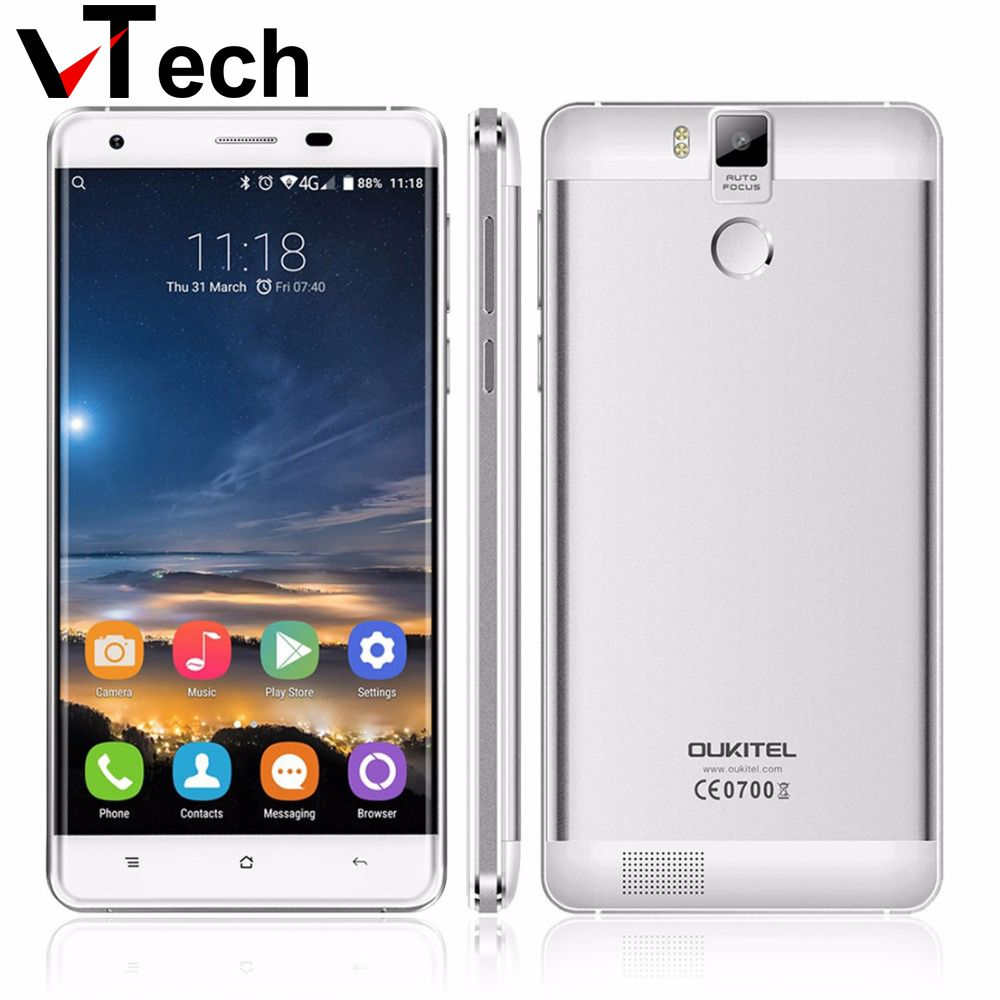 Original <font><b>Oukitel</b></font> K6000 PRO Android 6.0 5.5 Inch FHD Mobile Phone Octa Core MTK6753 3GB+32GB Fingerprint FDD LTE 4G 16MP 6000mAh