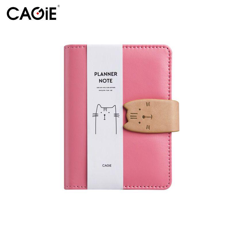 CAGIE A7 Portable Kawaii Chat Mini En Cuir Planificateur Bloc-Notes Poches Carnets et Journaux Papier Spirale Rose Journal Avec un Stylo
