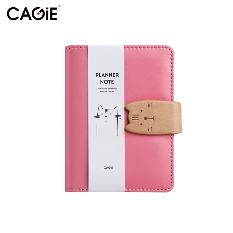 CAGIE A7 Notebook Kawaii Cat Mini Leather Planner Notepad Pockets Notebooks and Journals Paper Spiral Pink Diary With a Pen