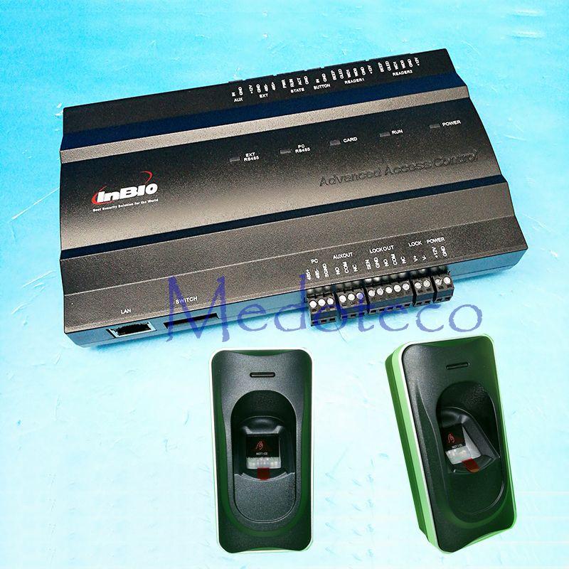 Eine tür Fingerprint Zutrittskontrolle Panel rfid Zutrittskontrollsystem Inbio 160 Access Controller + FR1200 Fingerprint Reader